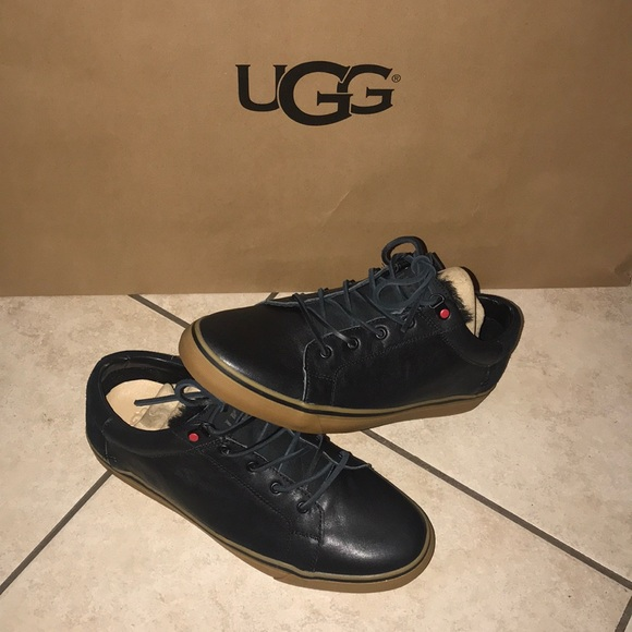 8c11a5a866c Men's UGG BROCK LUXE LEATHER BLACK SNEAKERS #10 NWT